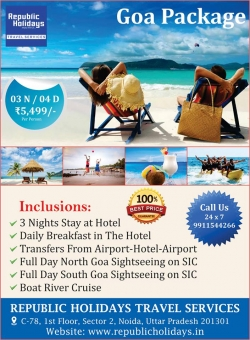 Goa  Tour Packages - Book Goa Honeymoon Packages - republicholidays.in