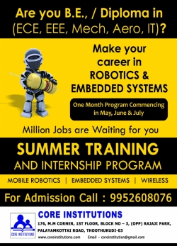 SUMMER EMBEDDED CLASSES FOR BE STUDENTS @ TUTICORIN